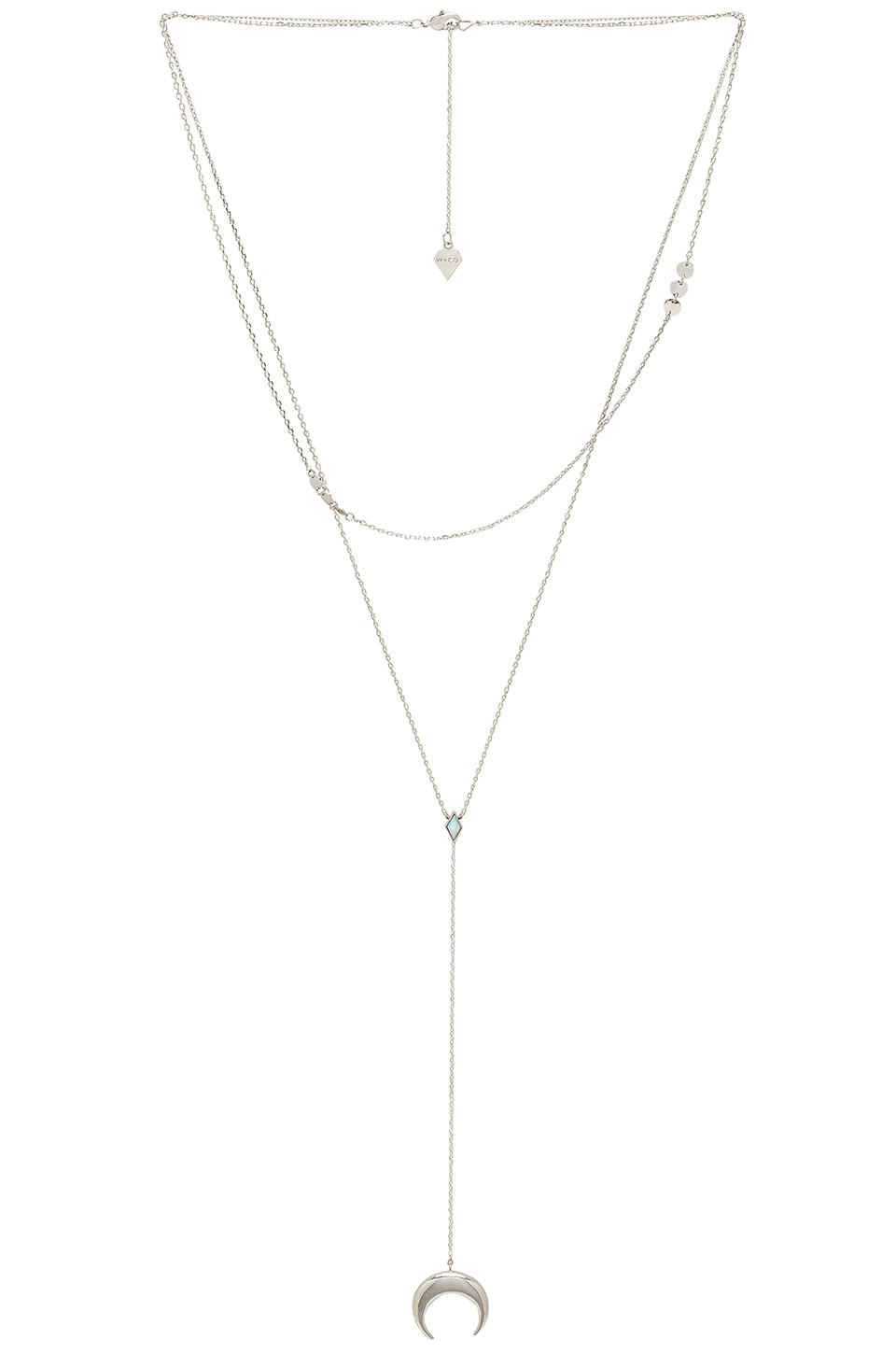 Wanderlust + Co Crescent Diamante Necklace in Silver