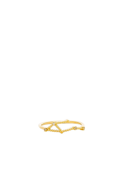 WANDERLUST + CO Libra Zodiac Ring in Metallic Gold