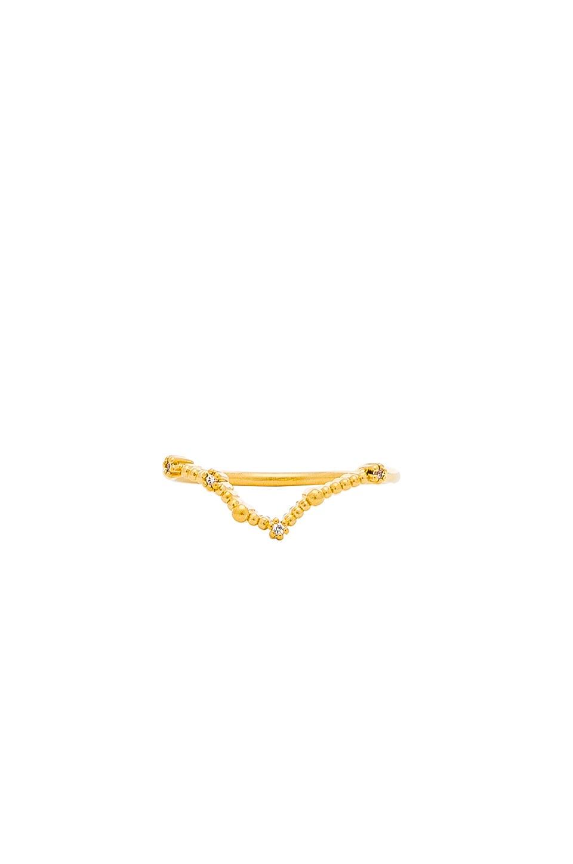 WANDERLUST + CO Pisces Zodiac Ring in Metallic Gold