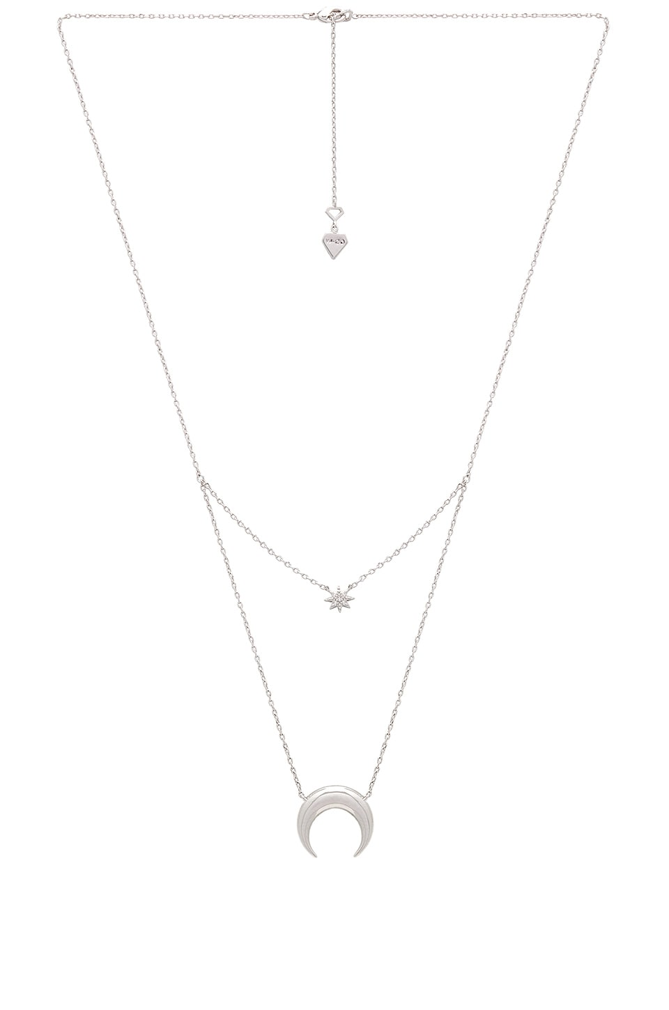 Wanderlust + Co Crescent & Star Layered Necklace in Silver
