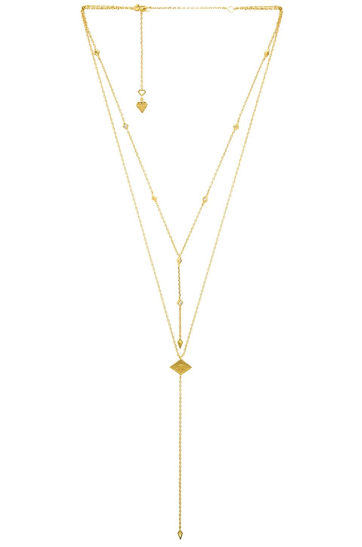 WANDERLUST + CO Arya Lariat Necklace in Metallic Gold