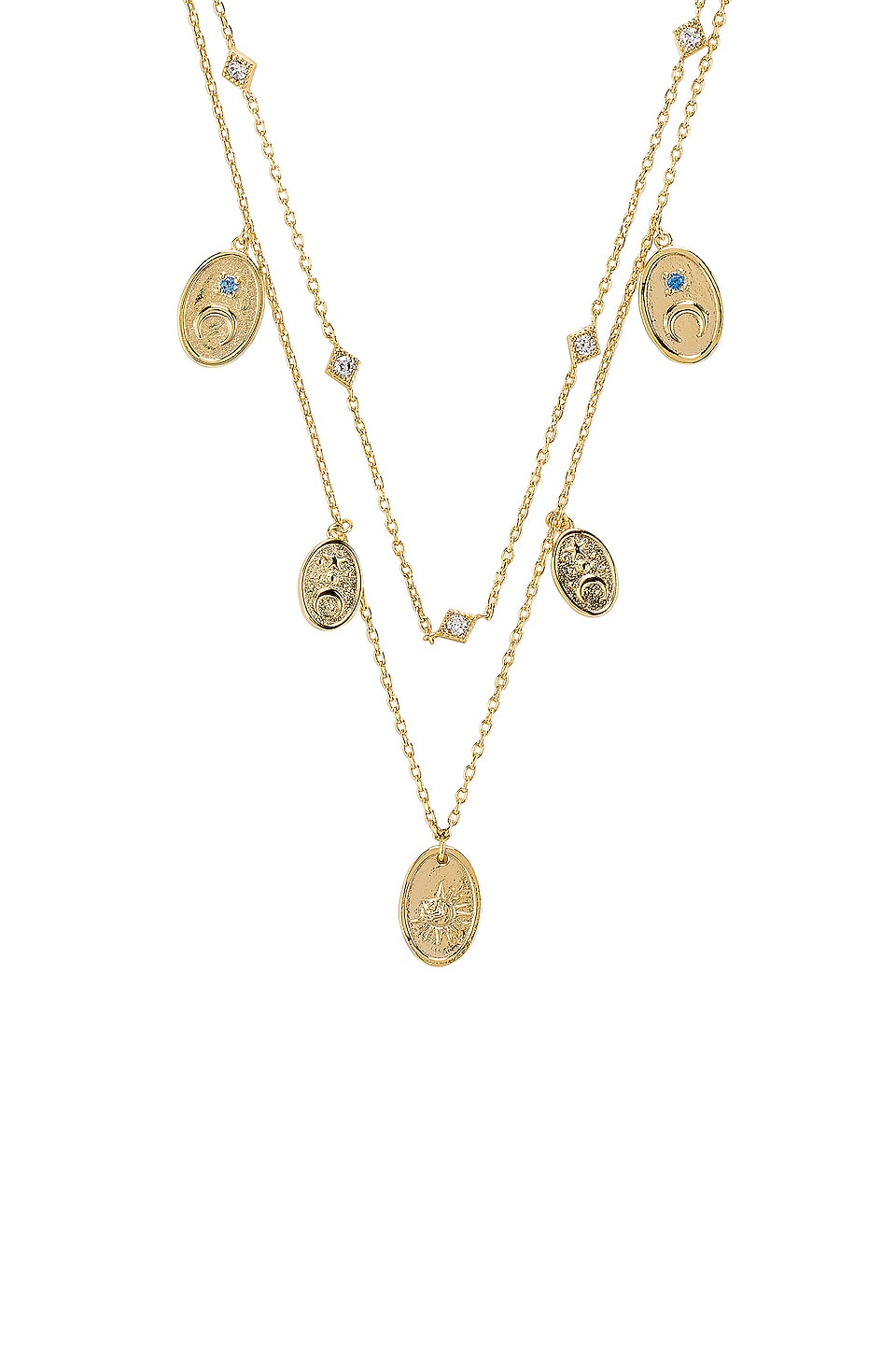 Wanderlust + Co Reverie Charms Necklace in Gold