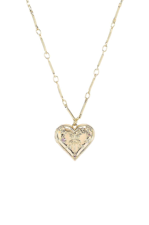 Wanderlust + Co Harlow Locket Necklace in Gold