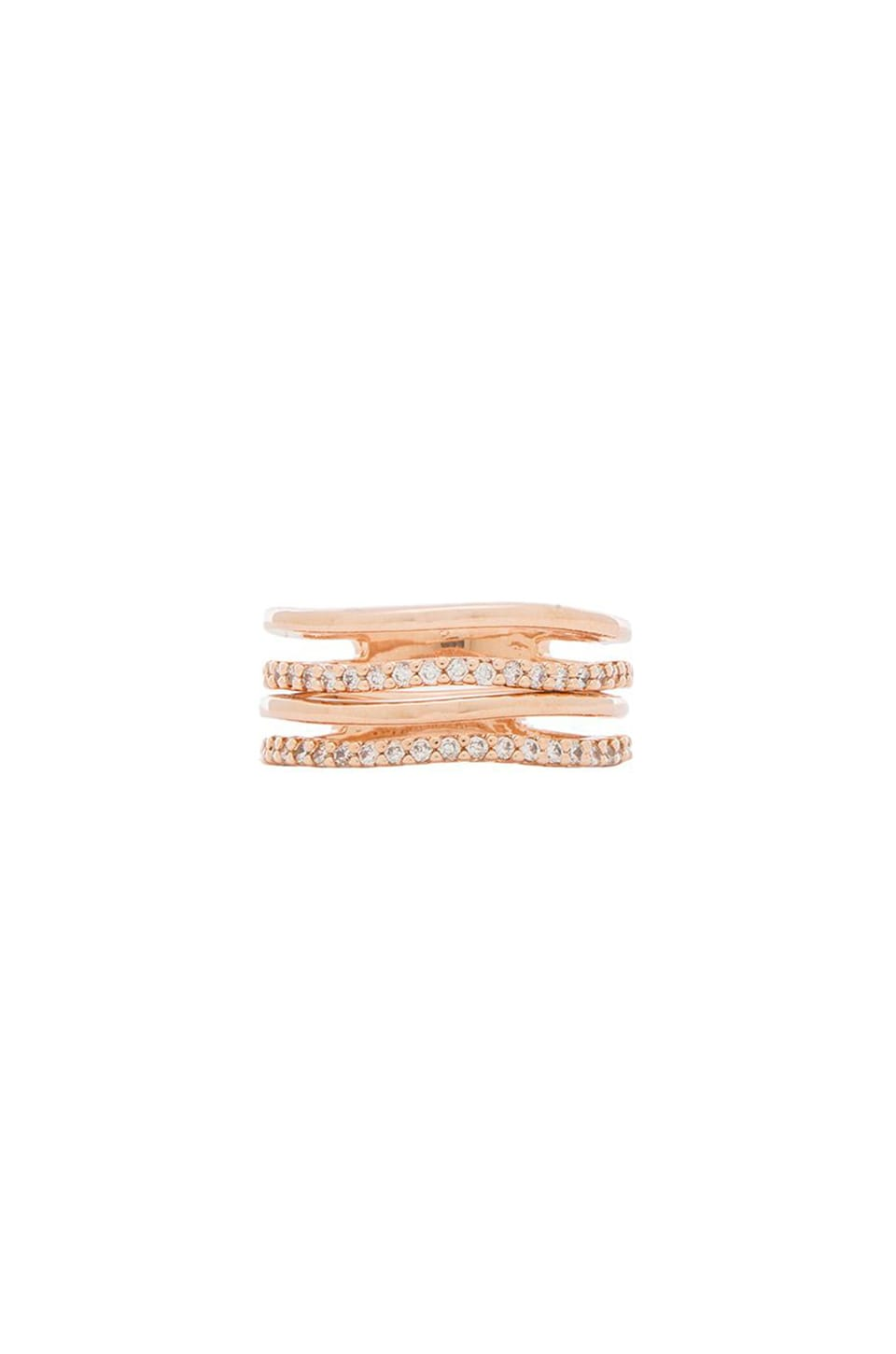 Wanderlust + Co Crystal and Bar Stack Ring Set in Rose Gold