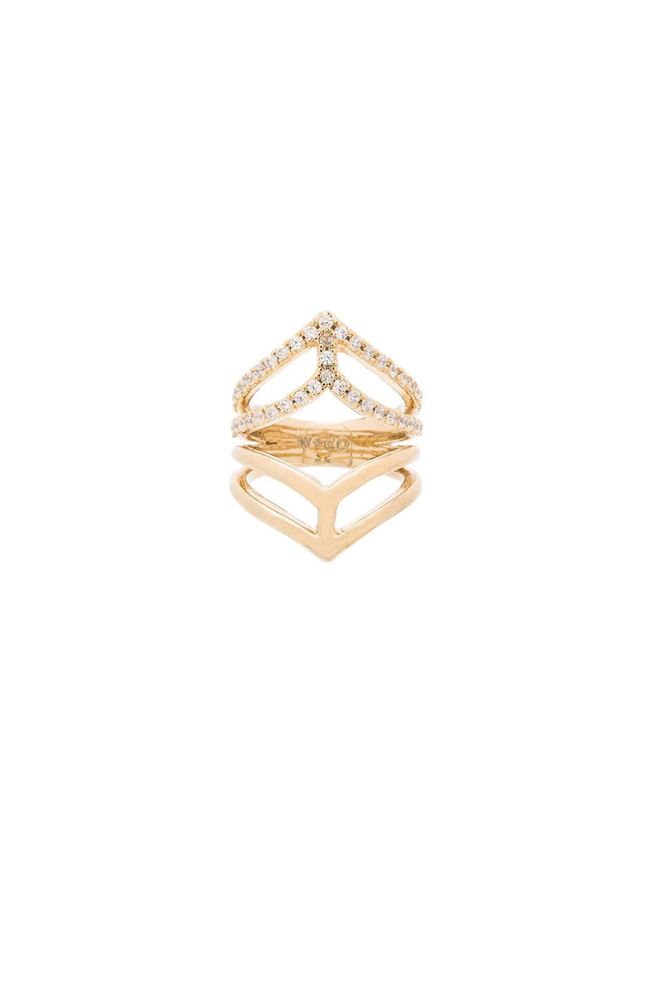 Wanderlust + Co Geo Armour XL Crystal Ring in Gold