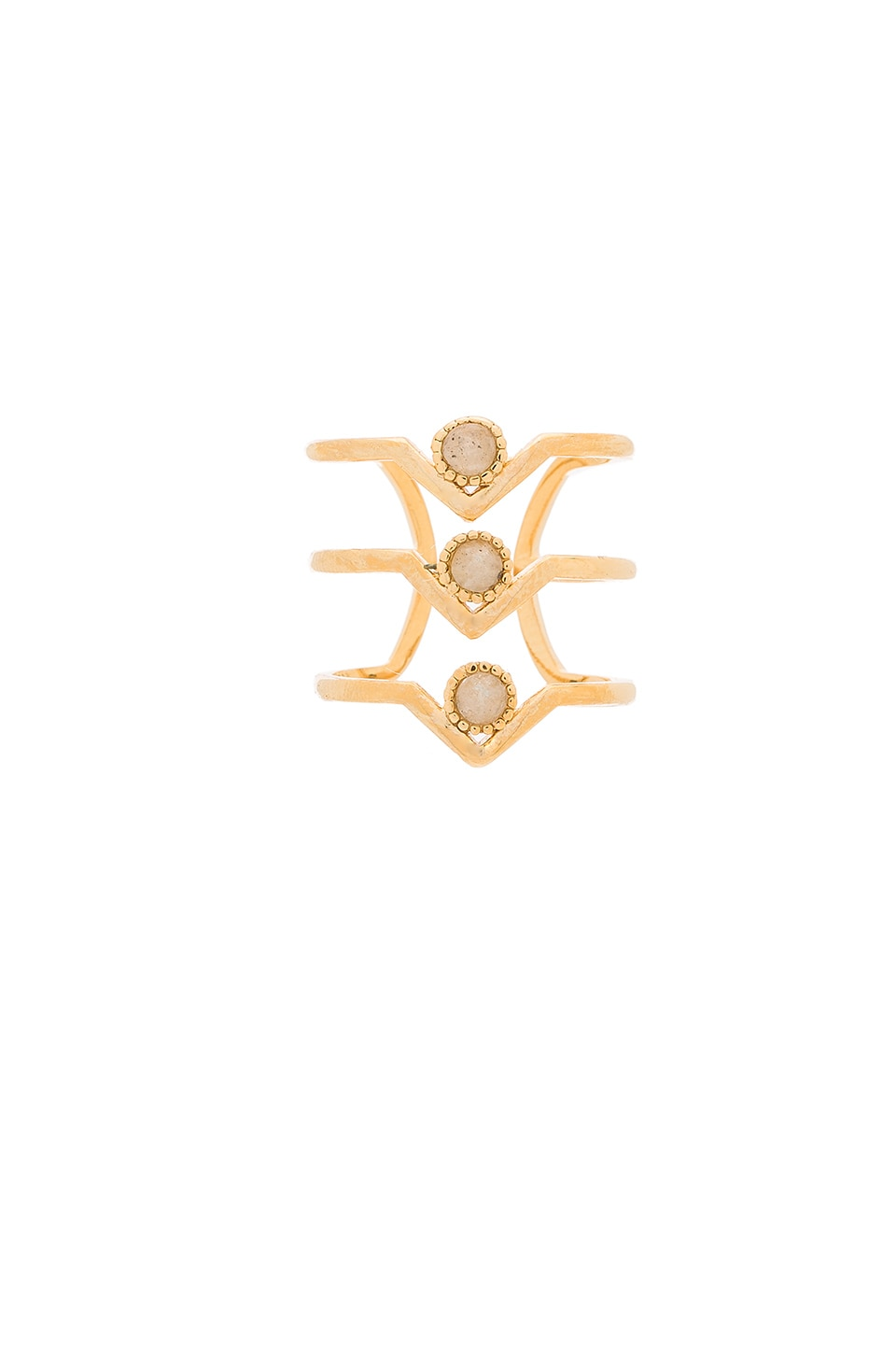 Wanderlust + Co Triple Zeta Ring in Gold & Slate