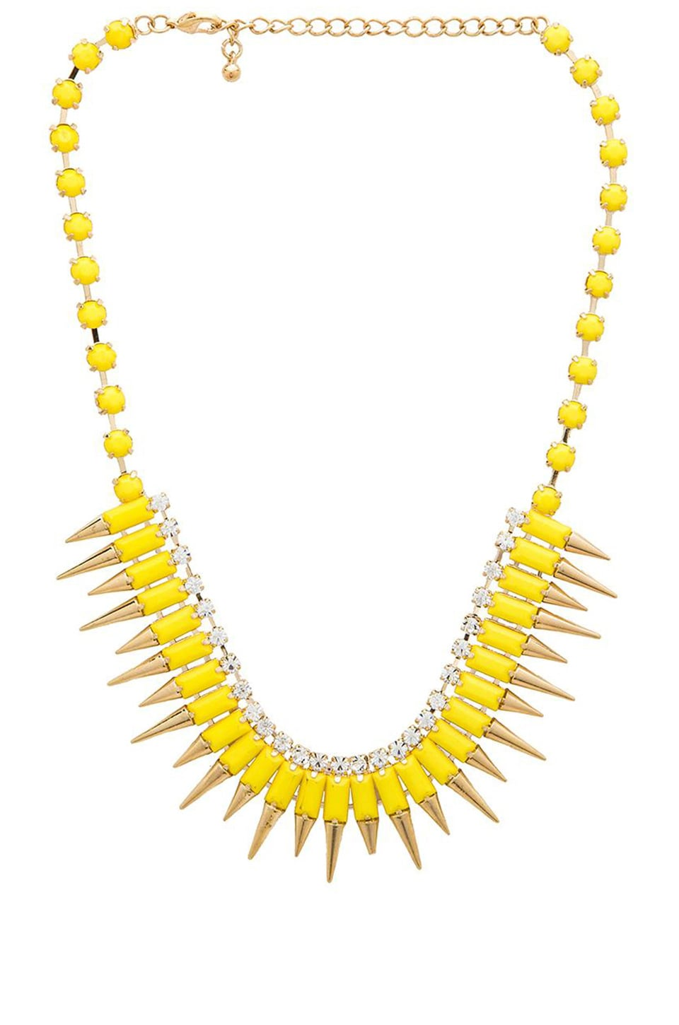 Wanderlust + Co Multi Spike Bib Necklace in Yellow