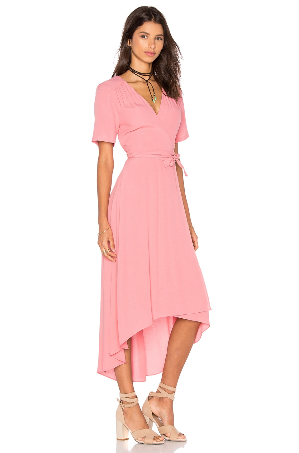 WAYF Wrap Dress in Salmon