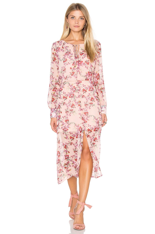WAYF Peasant Dress in Pink Botanical