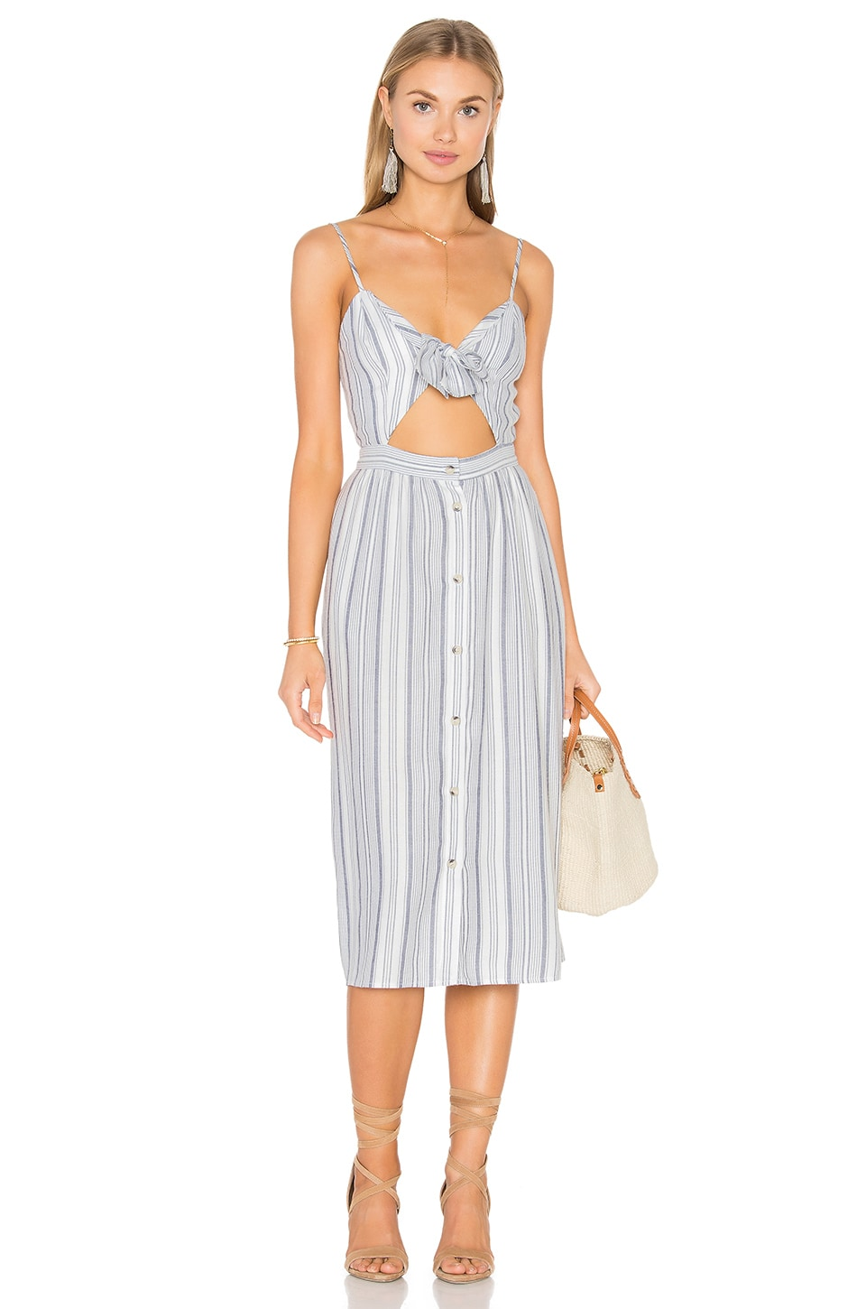 WAYF Tie Front Midi Dress in Navy & White