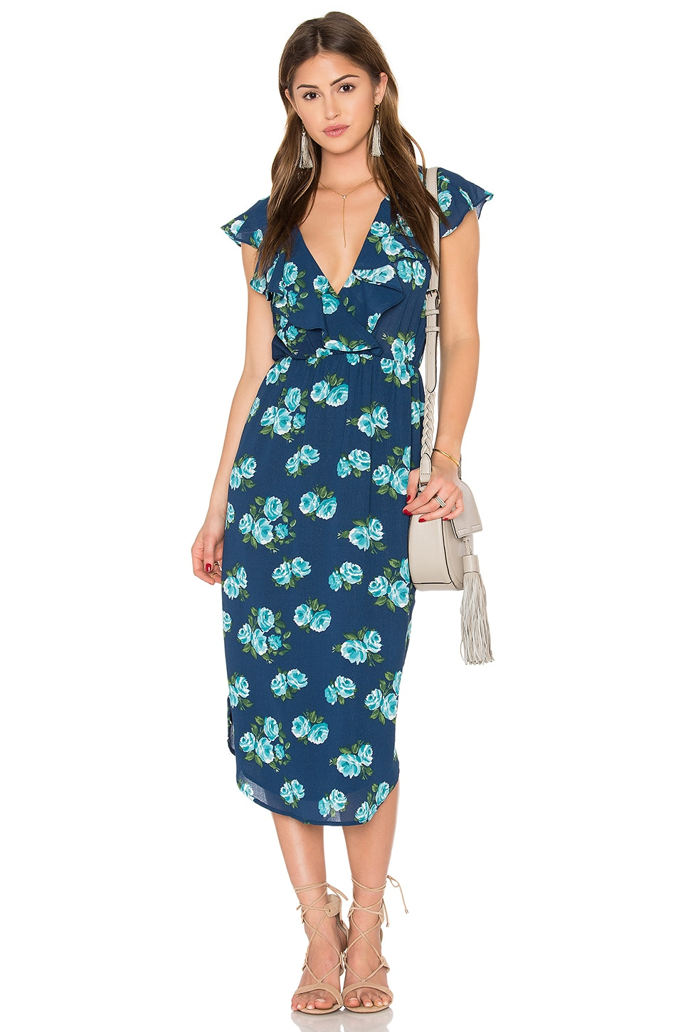 WAYF Ruffler Wrap Front Dress in Navy Floral