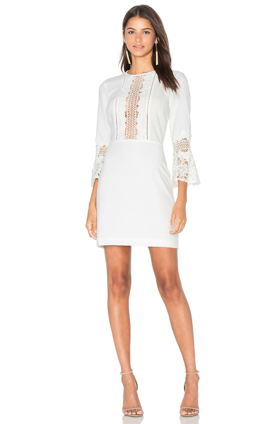 WAYF Somerset Lace Trim Dress in Ivory