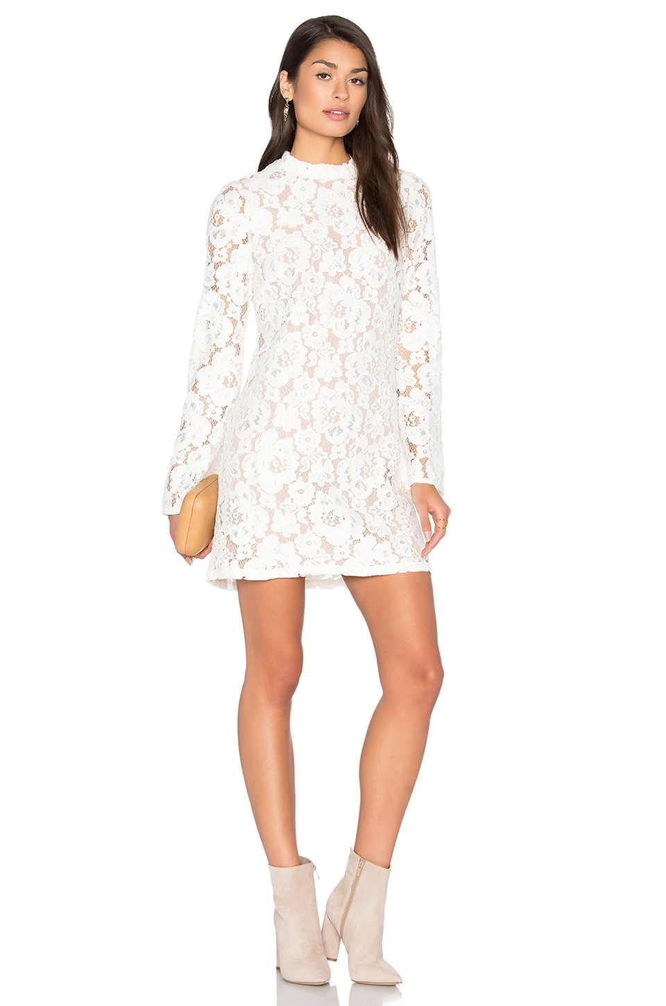 WAYF Belvue Lace Dress in Ivory