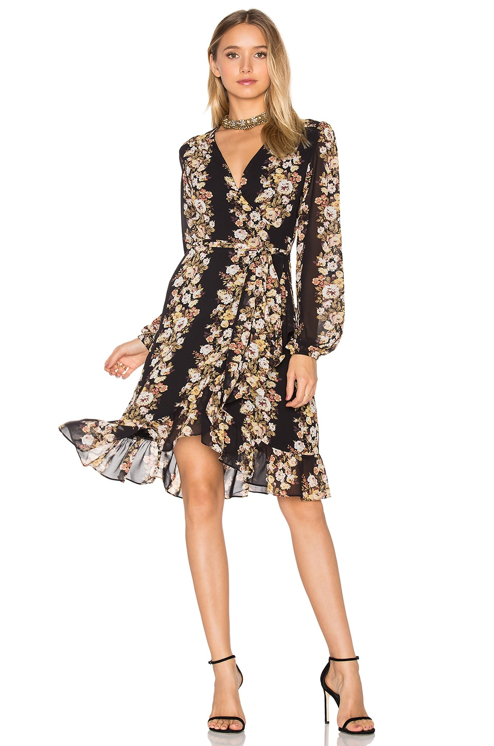 WAYF Only You Wrap Dress in Black Floral