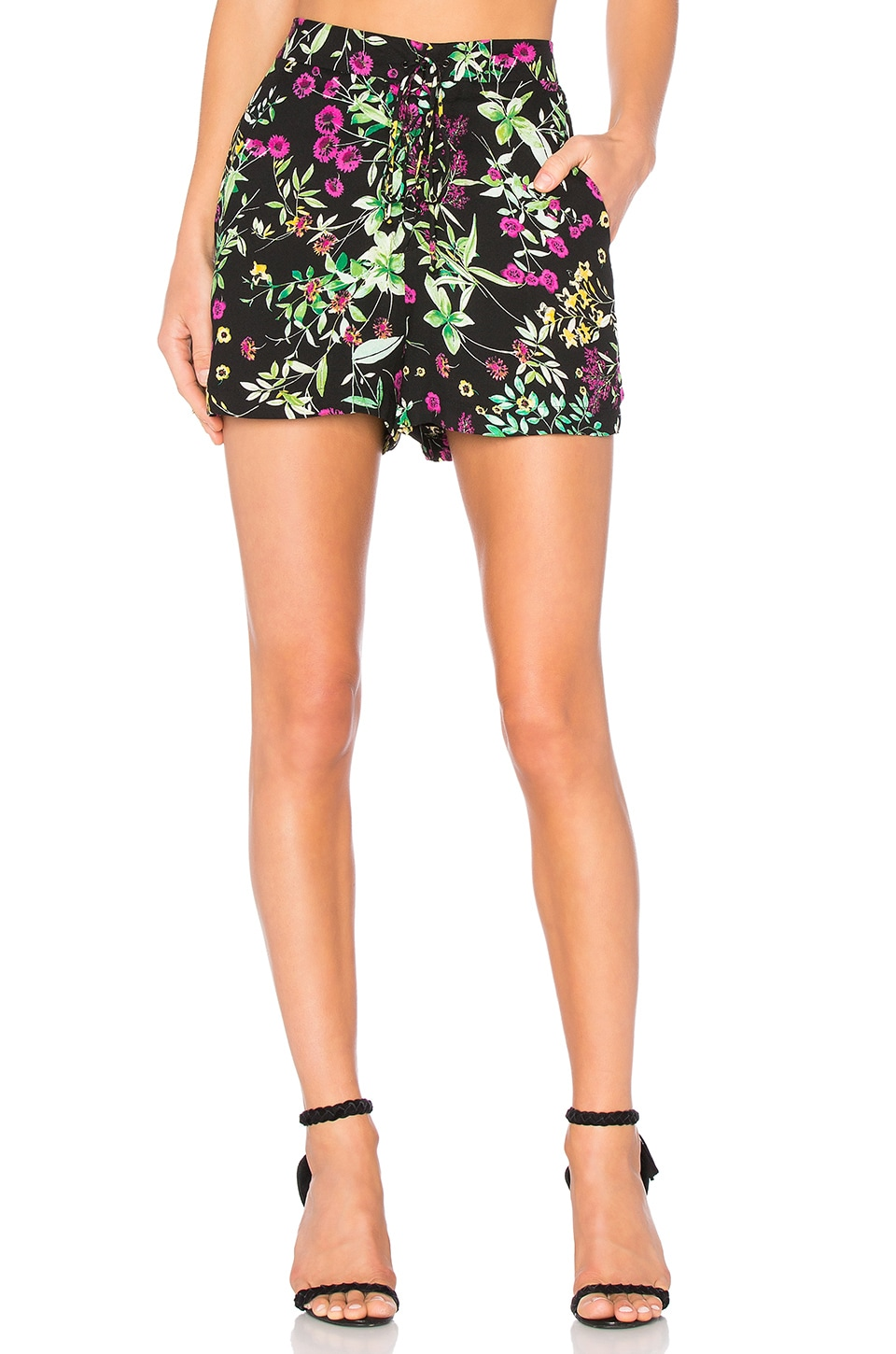 WAYF Lace Up Short in Black Floral