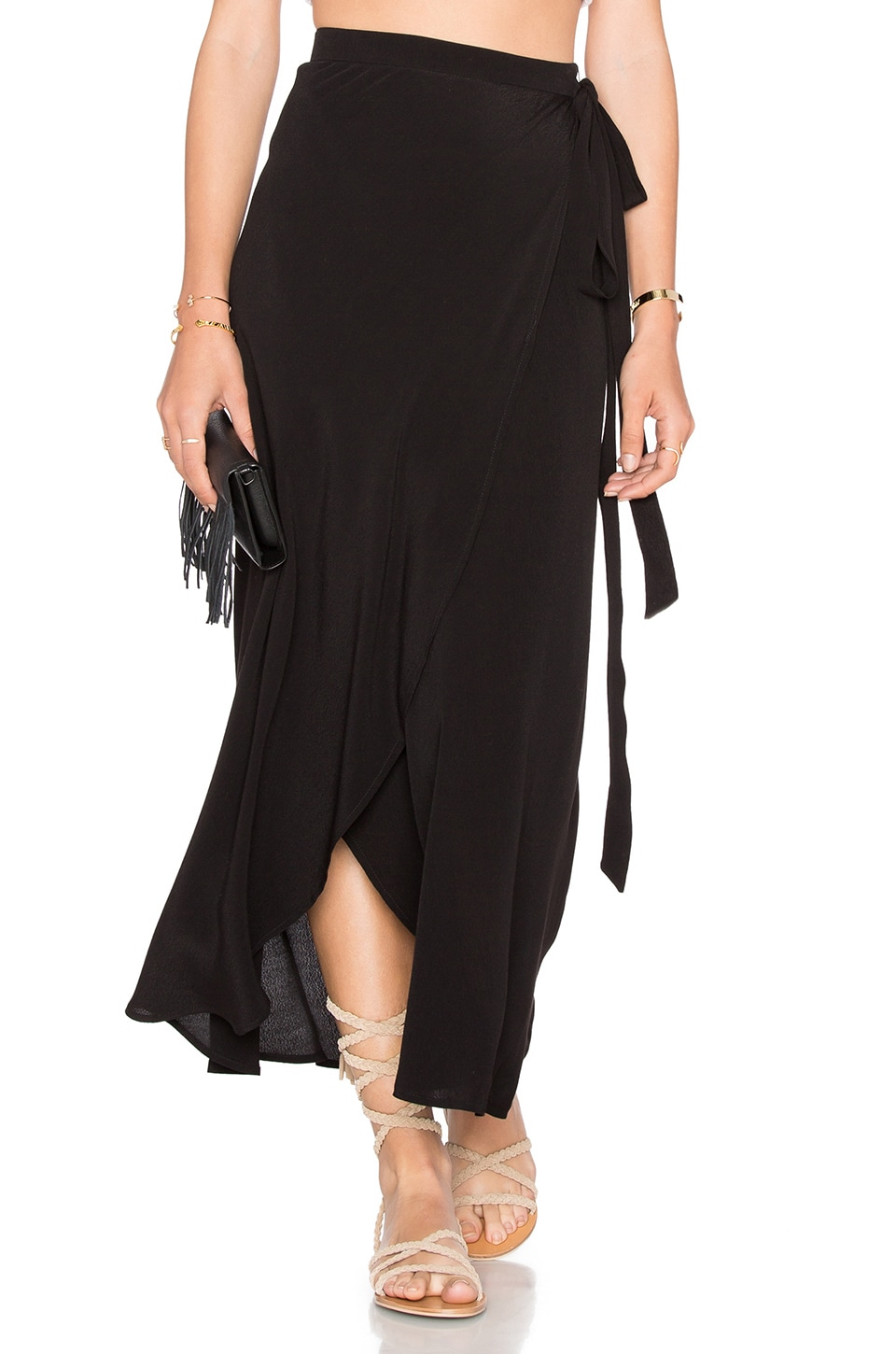WAYF Wrap Midi Skirt in Black | REVOLVE