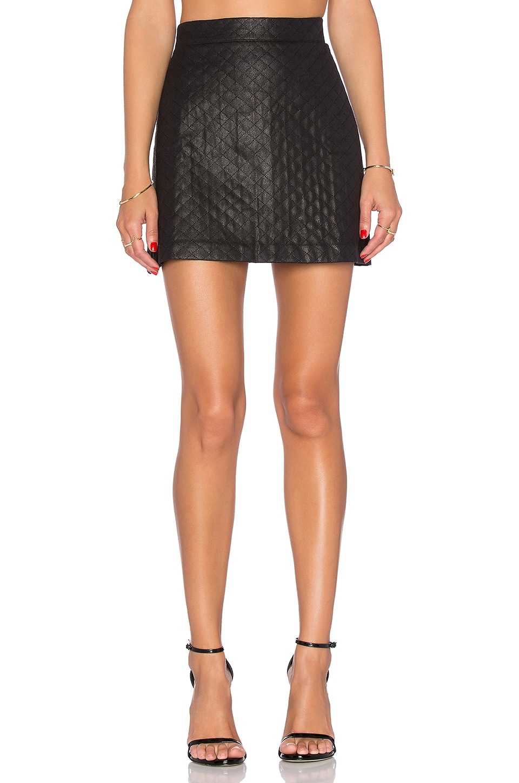 WAYF Vegan Leather Mini Skirt in Black