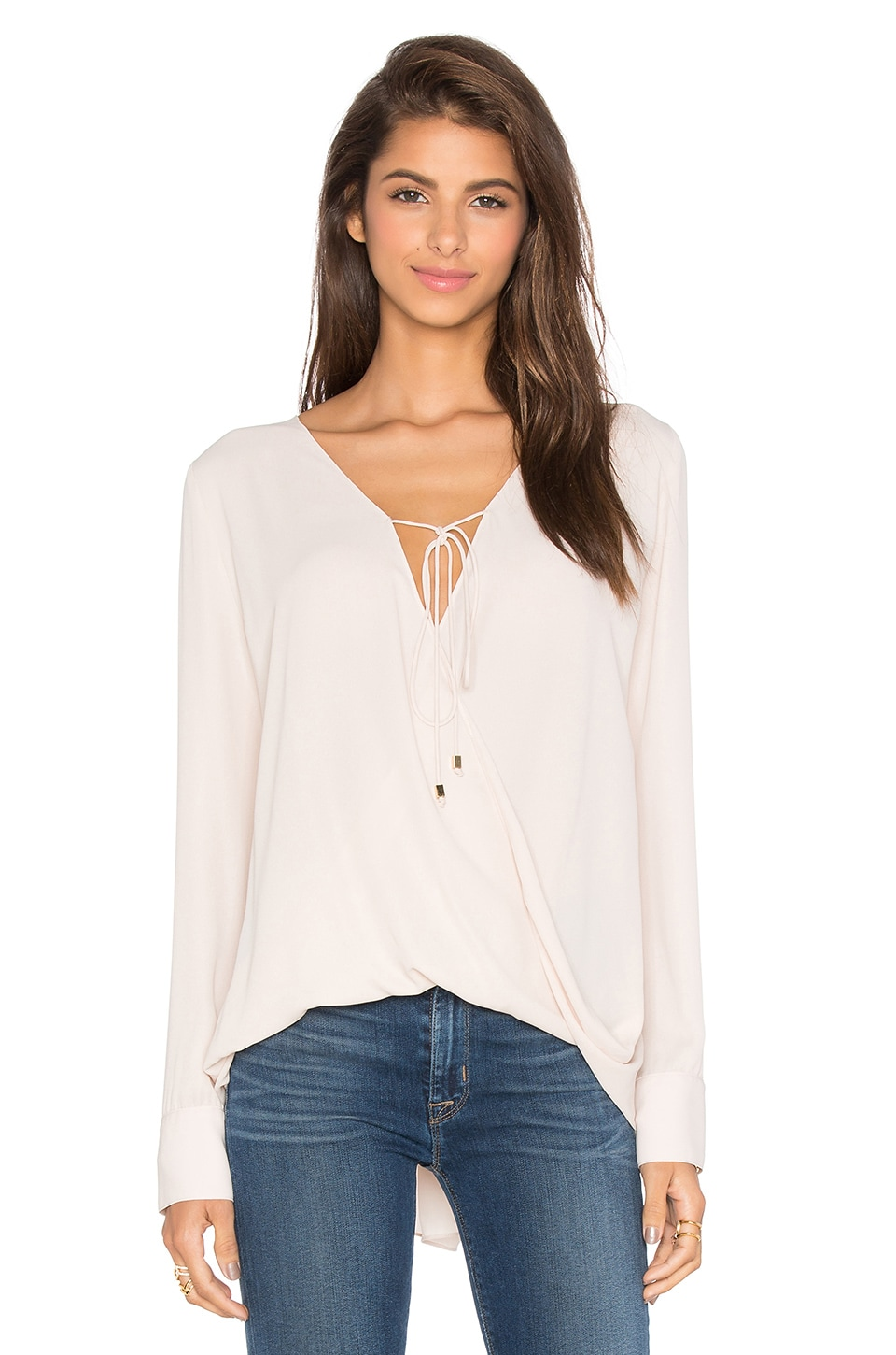 WAYF Long Sleeve Wrap Blouse in Sand