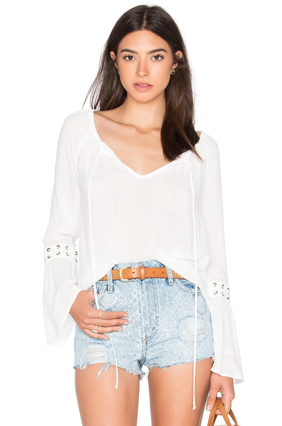 WAYF Eyelet Blouse in Ivory