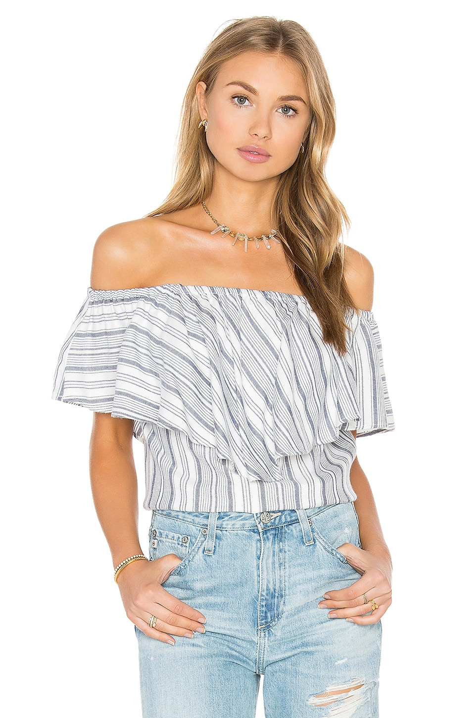 WAYF Ruffle Off Shoulder Top in Navy & White