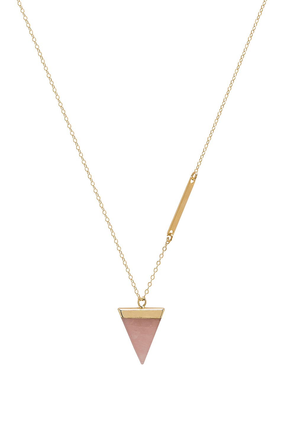 WOLF CIRCUS Crystal Triangle Long Necklace in Gold Rose Quartz