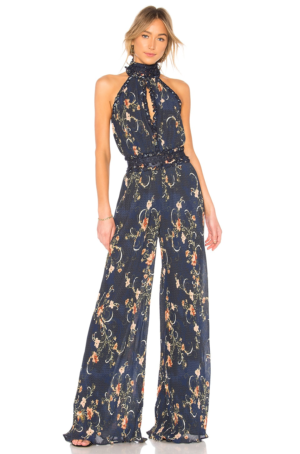 We Are Kindred Adele Pleated Jumpsuit in Midnight Oriental