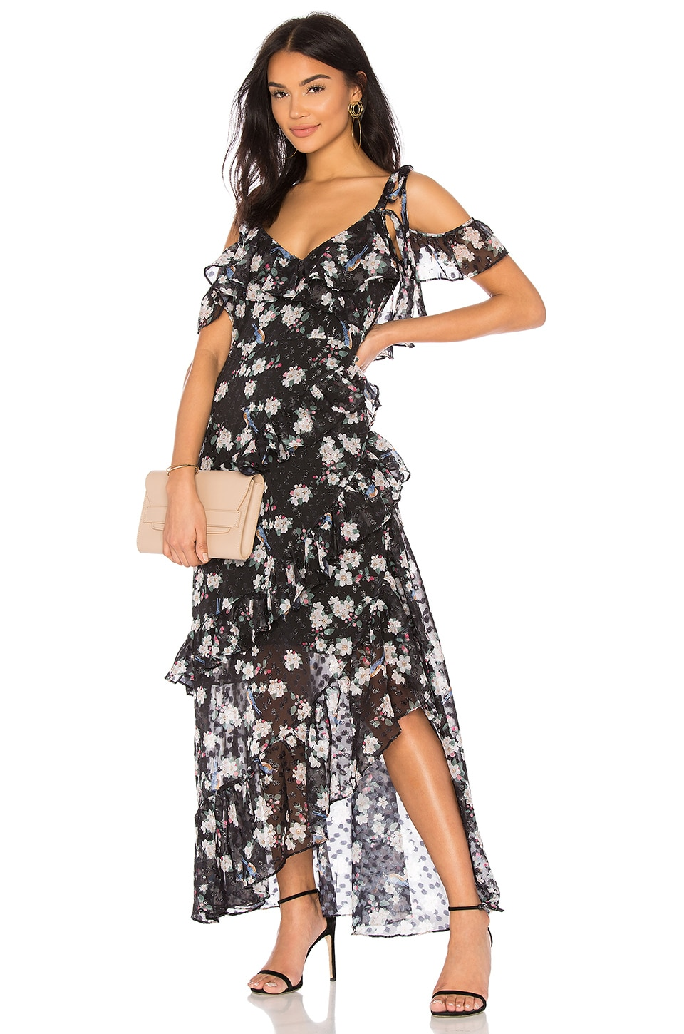 We Are Kindred Pippa Ruffle Maxi Dress in Noir Lurex