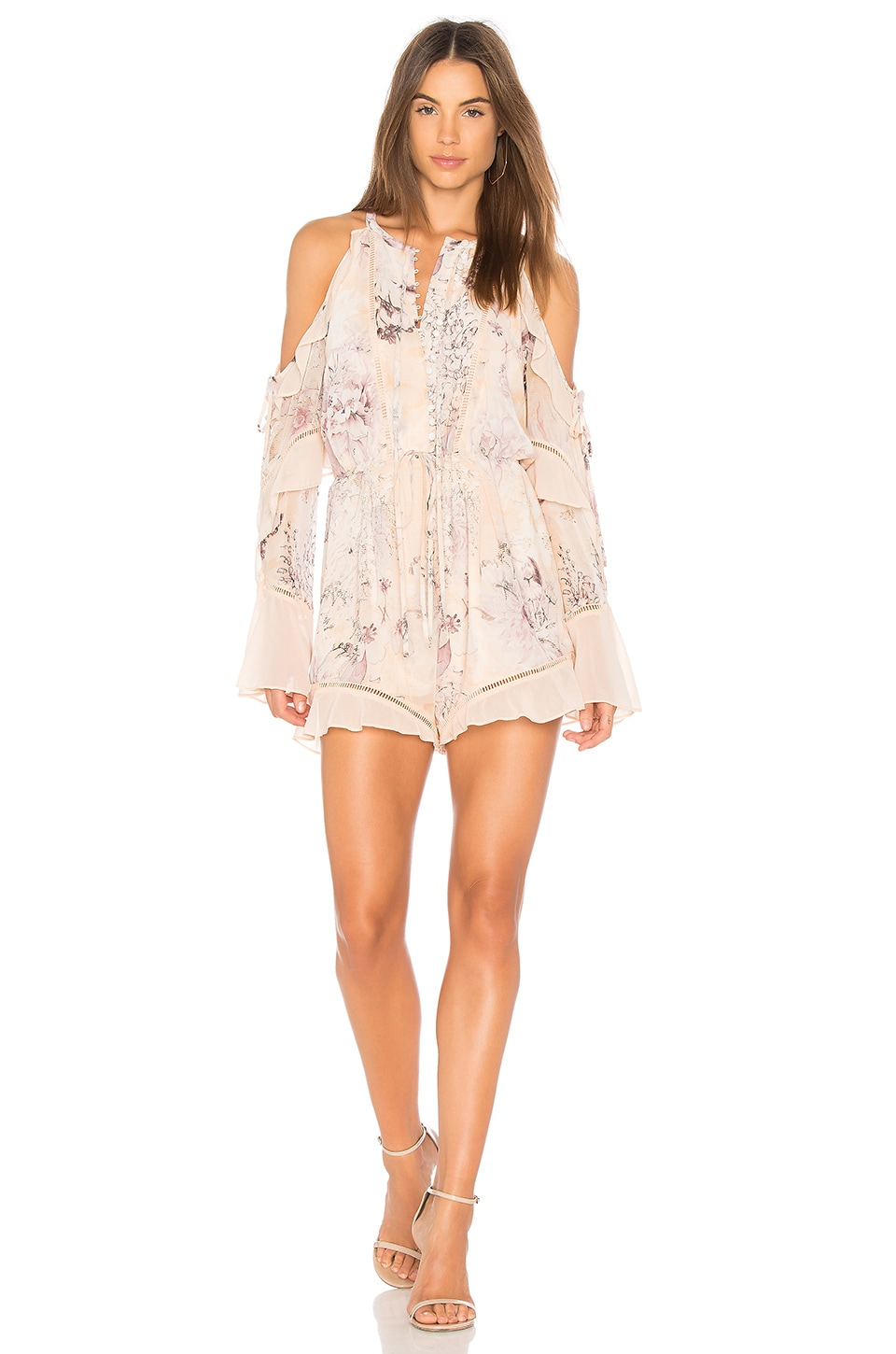 We Are Kindred Paloma Cold Shoulder Romper in Sunset