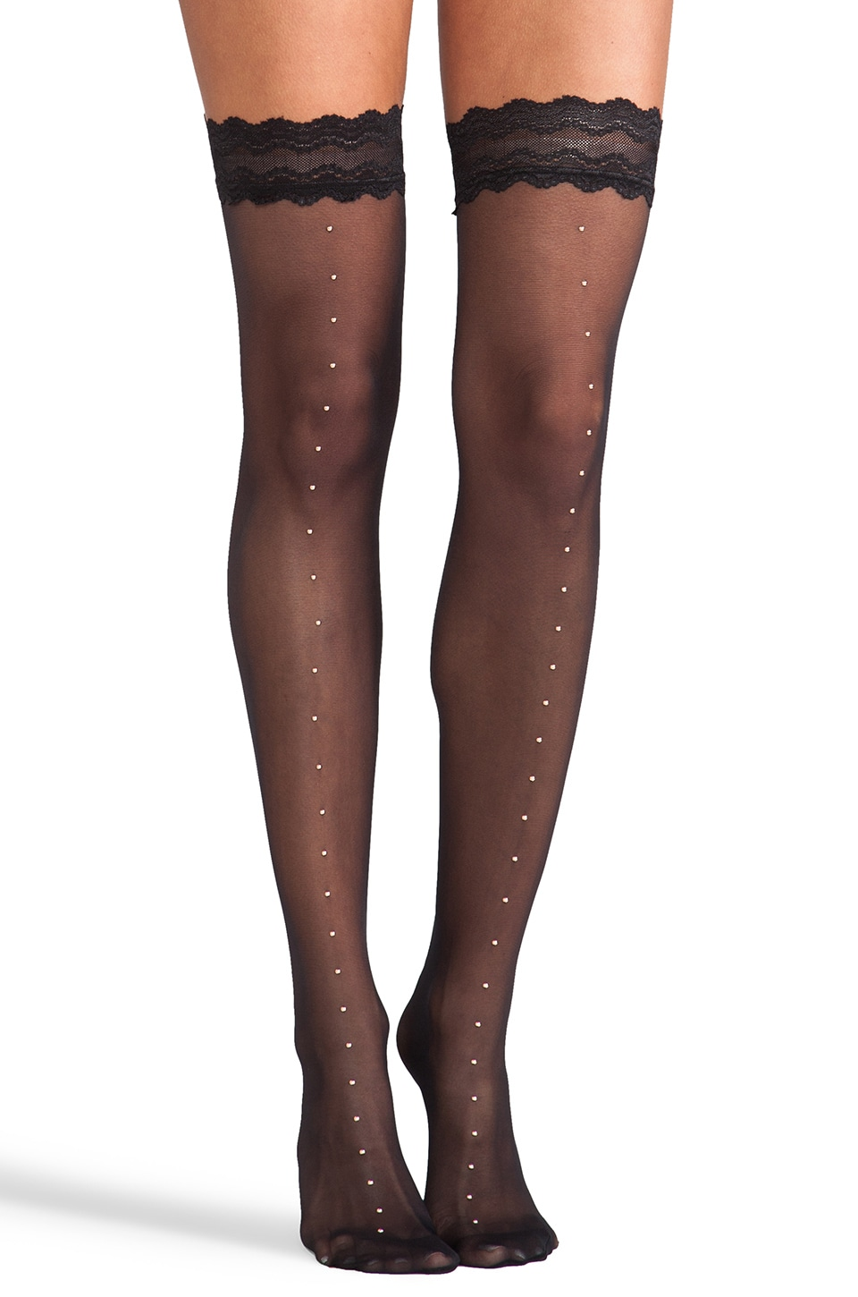 Wolford Natale Stay Up Thigh Highs in Black