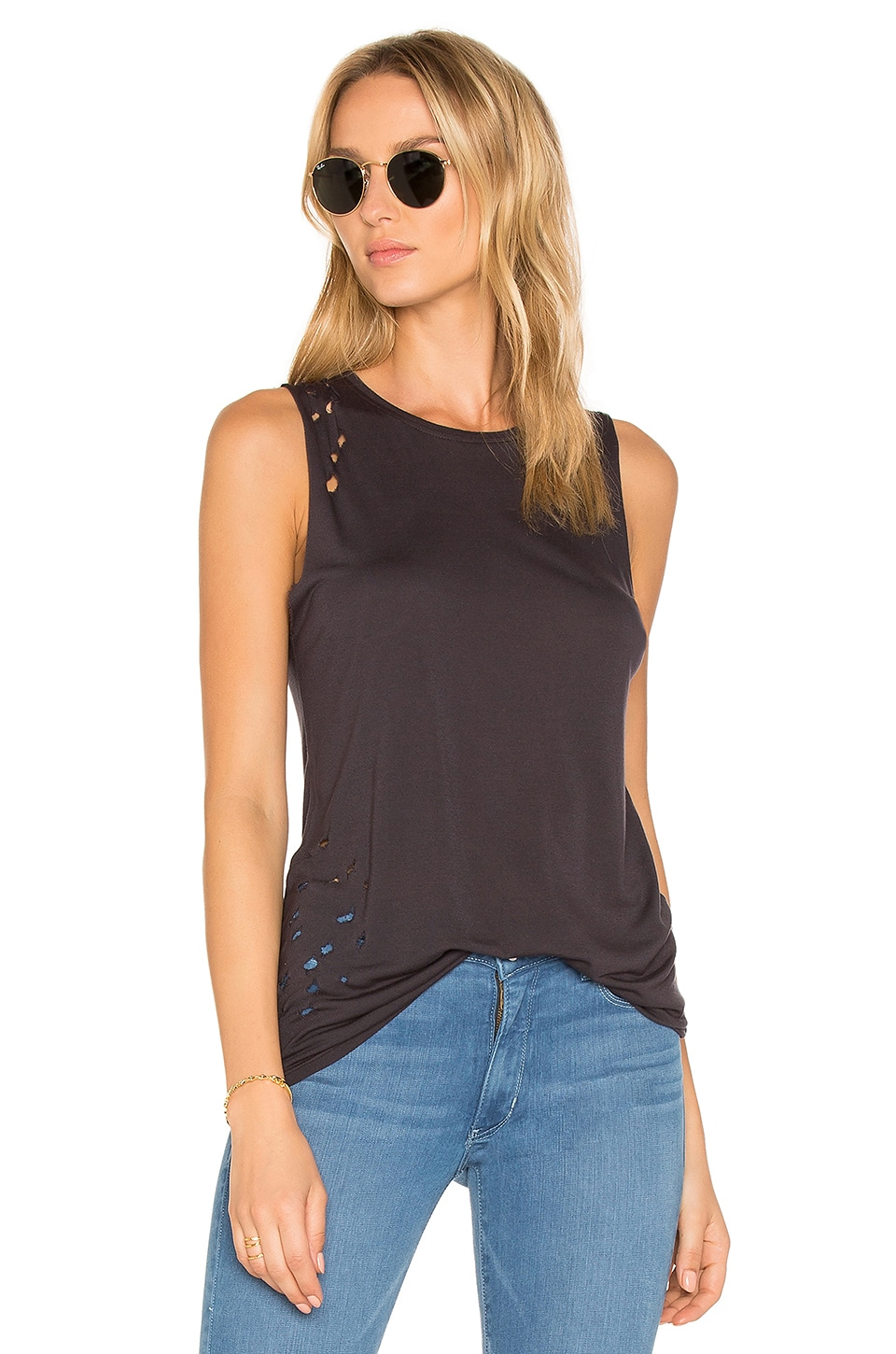 The Brix Distressed Muscle Tank by Weslin + Grant