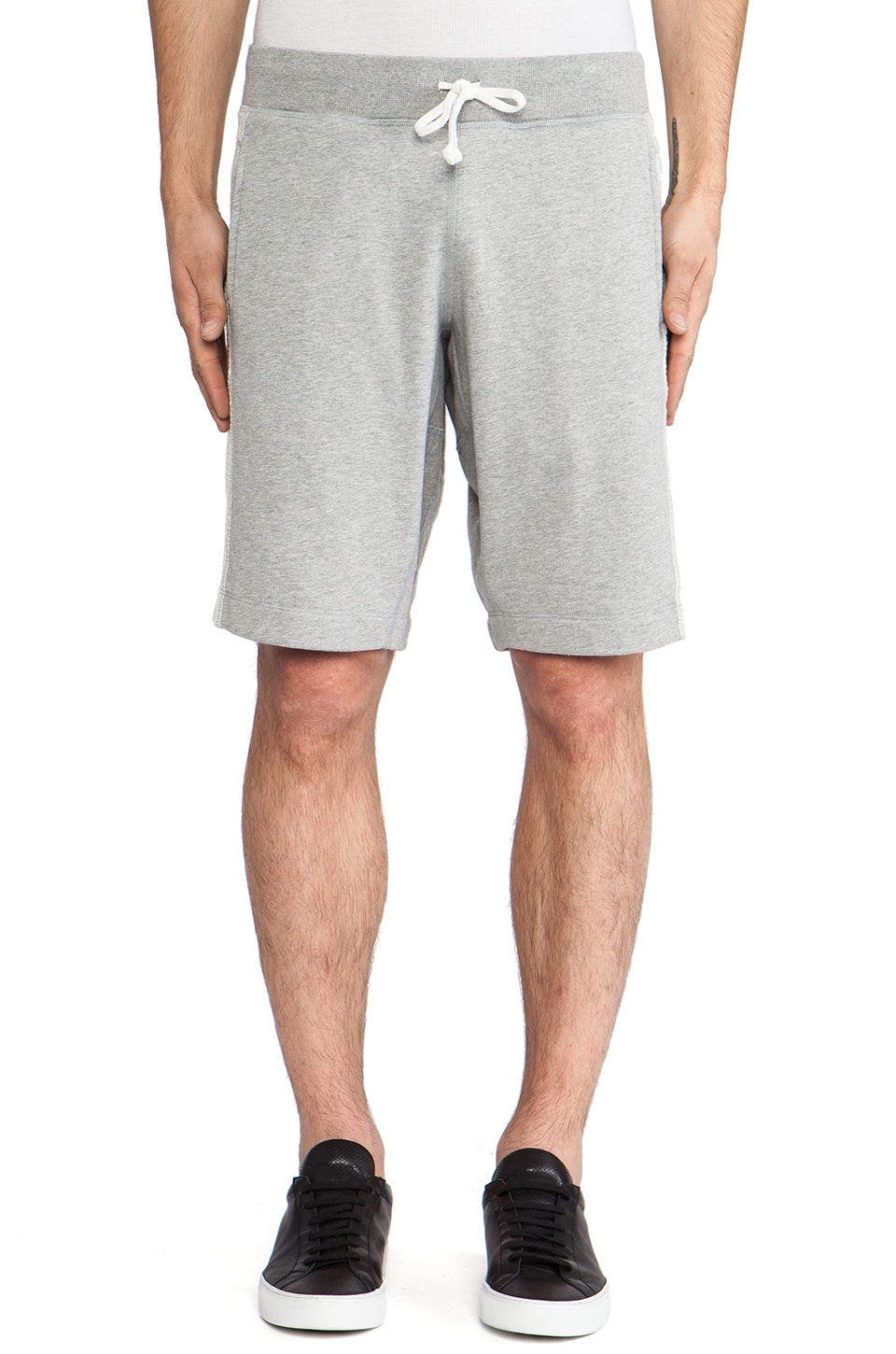 wings + horns Terry Pull On Short in Grey Melange