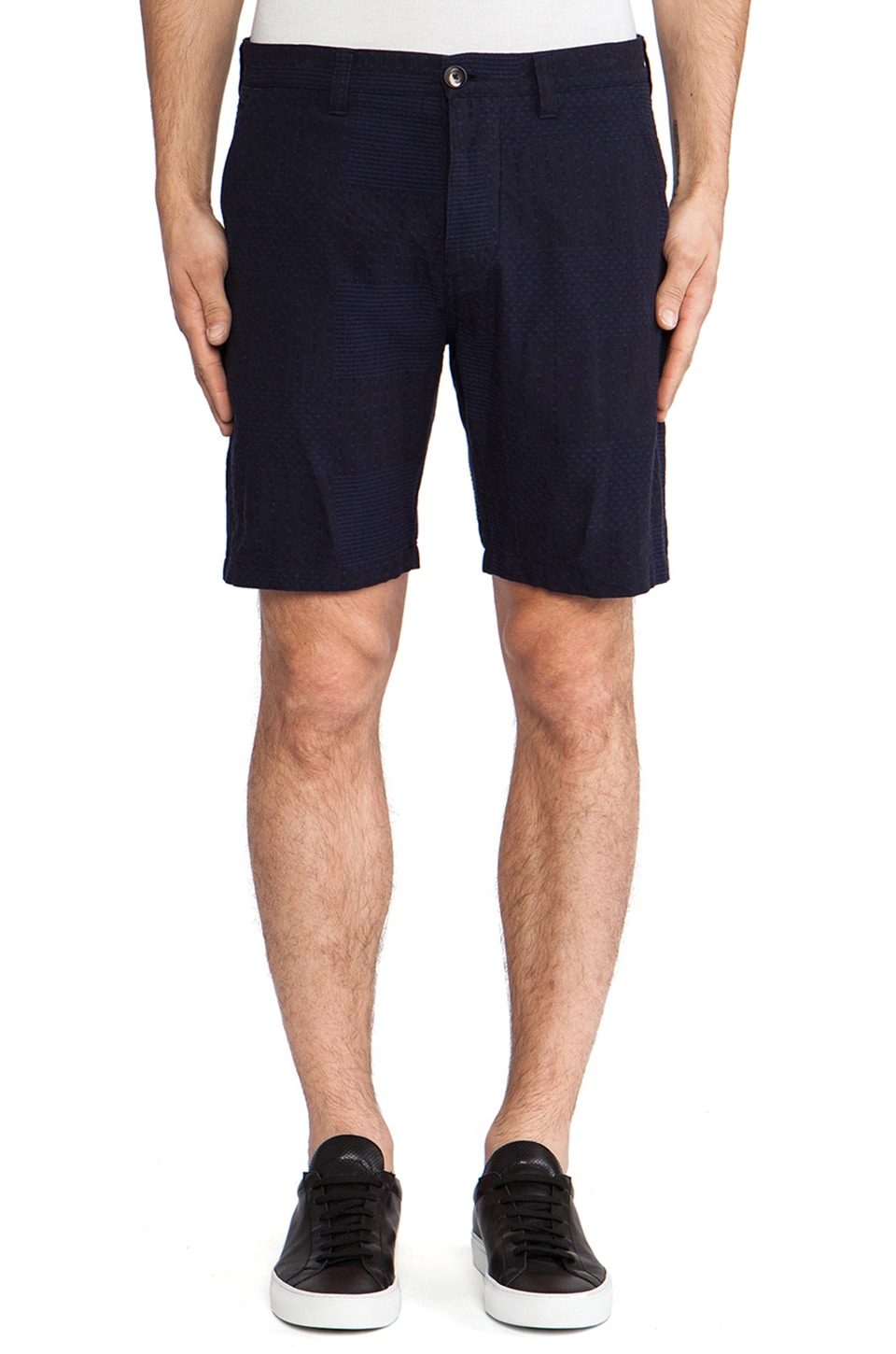 wings + horns Patchwork Sashiko Shorts in Indigo Blue