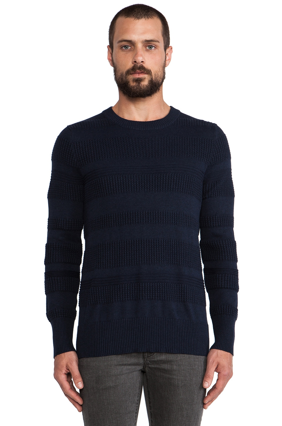 wings + horns Knit Sea Crewneck in Navy