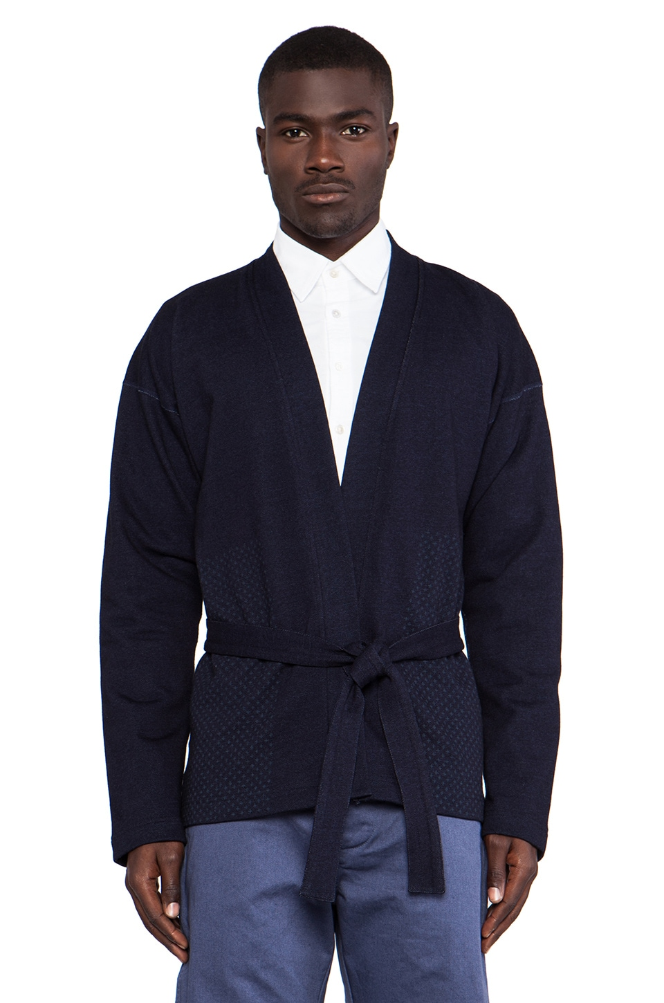 wings + horns Sashiko Print Fisherman Sweater in Indigo