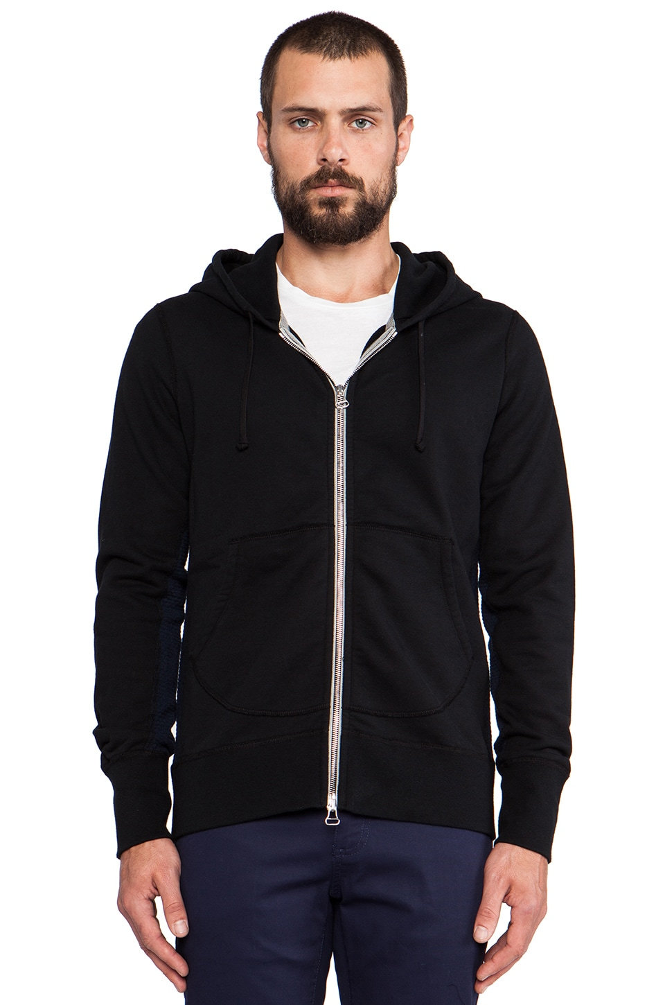 wings + horns Full Zip Hooded Sweater in Black
