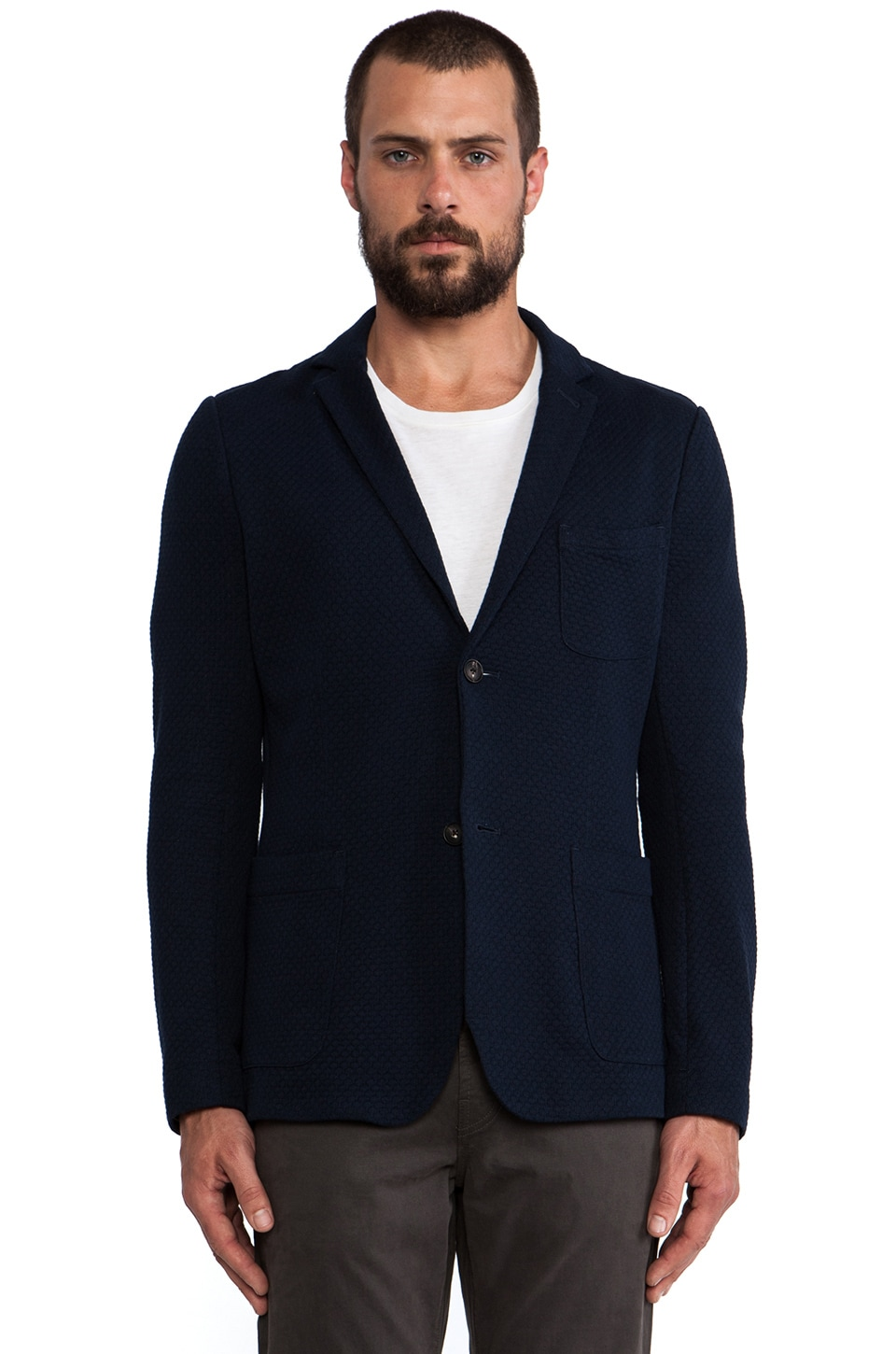 wings + horns Wave Knit Blazer in Navy