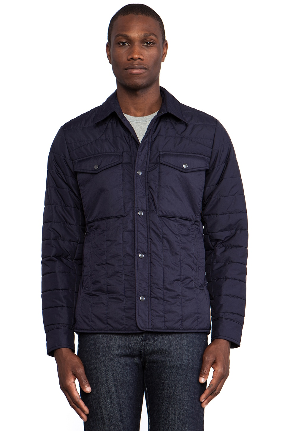 wings + horns Ripstop Shirt Jacket in Navy