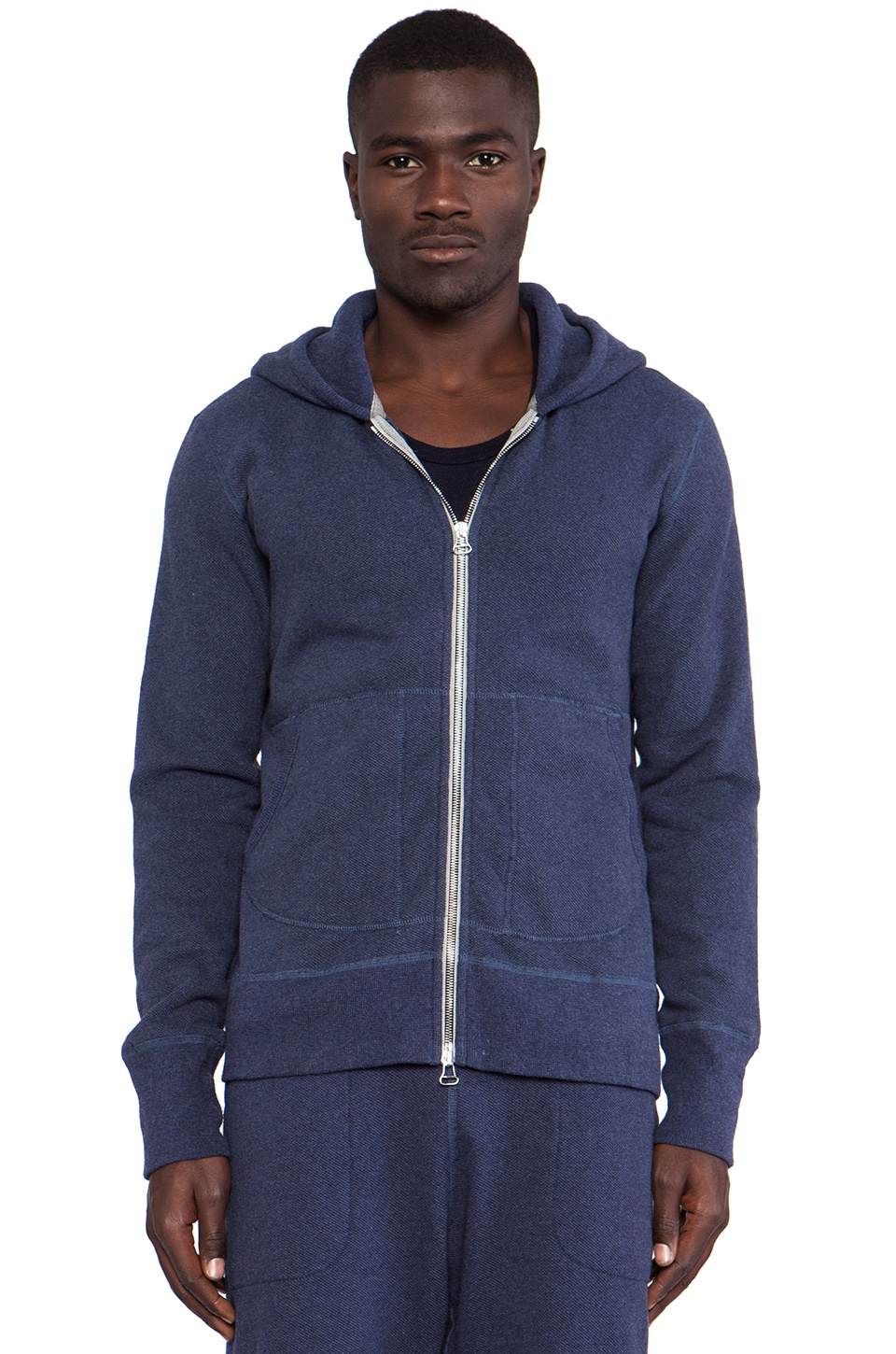 wings + horns Terry Hooded Sweater in Blue Melange