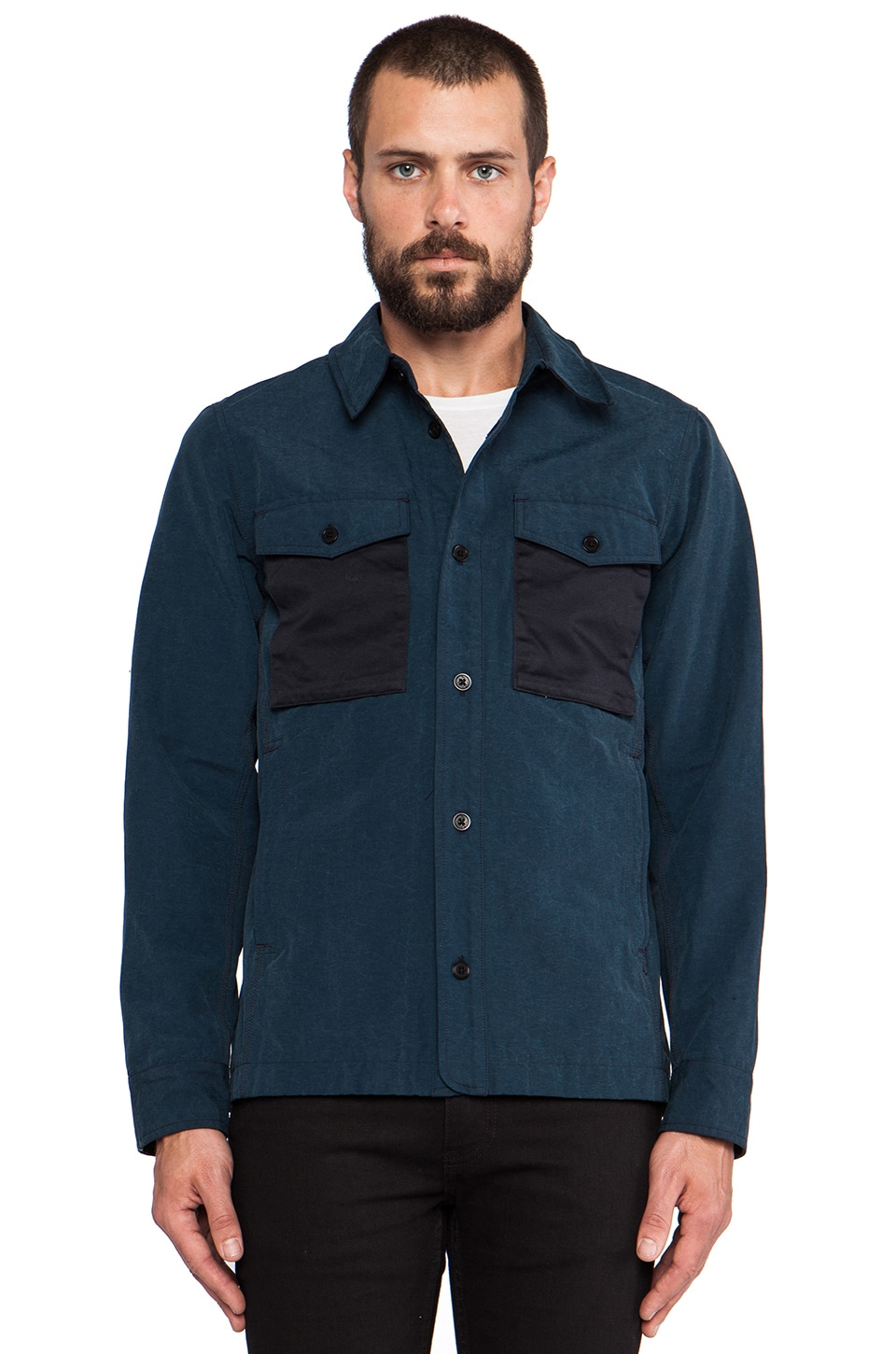 wings + horns Grunge Cloth Shirt Jacket in Navy