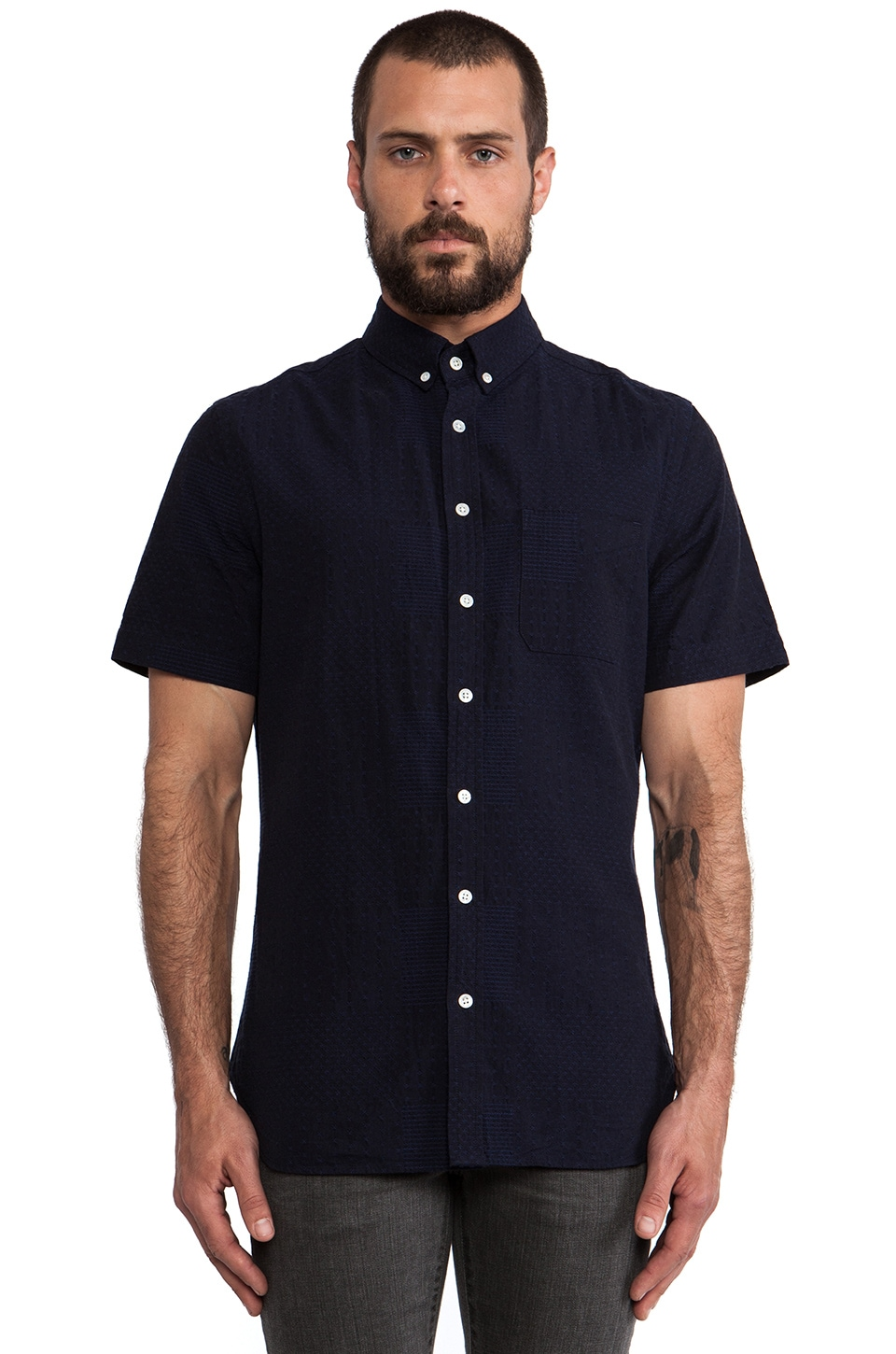 wings + horns Sashiko Button Down Shirt in Indigo Blue
