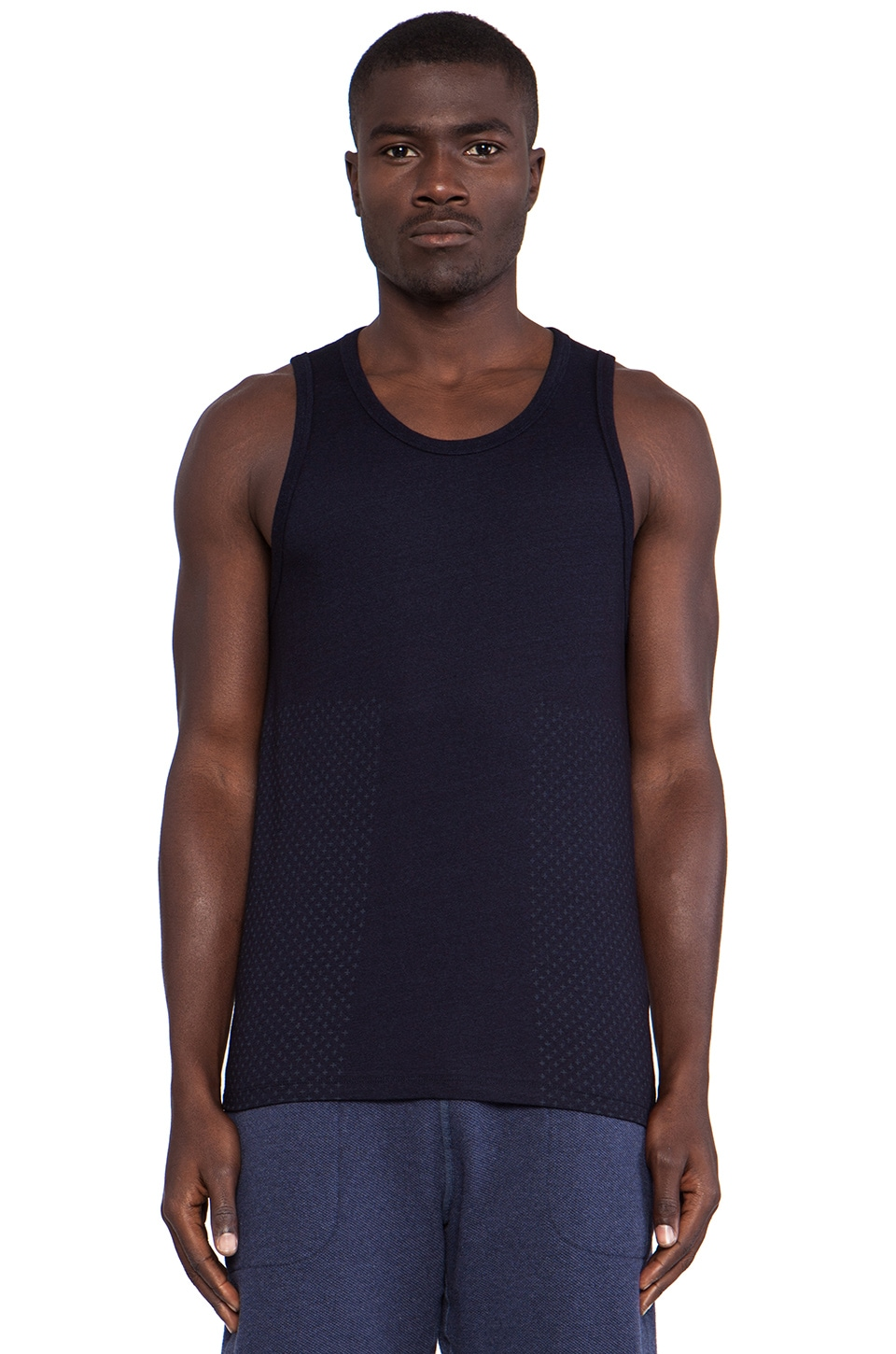 wings + horns Sashiko Print Tank Top in Indigo