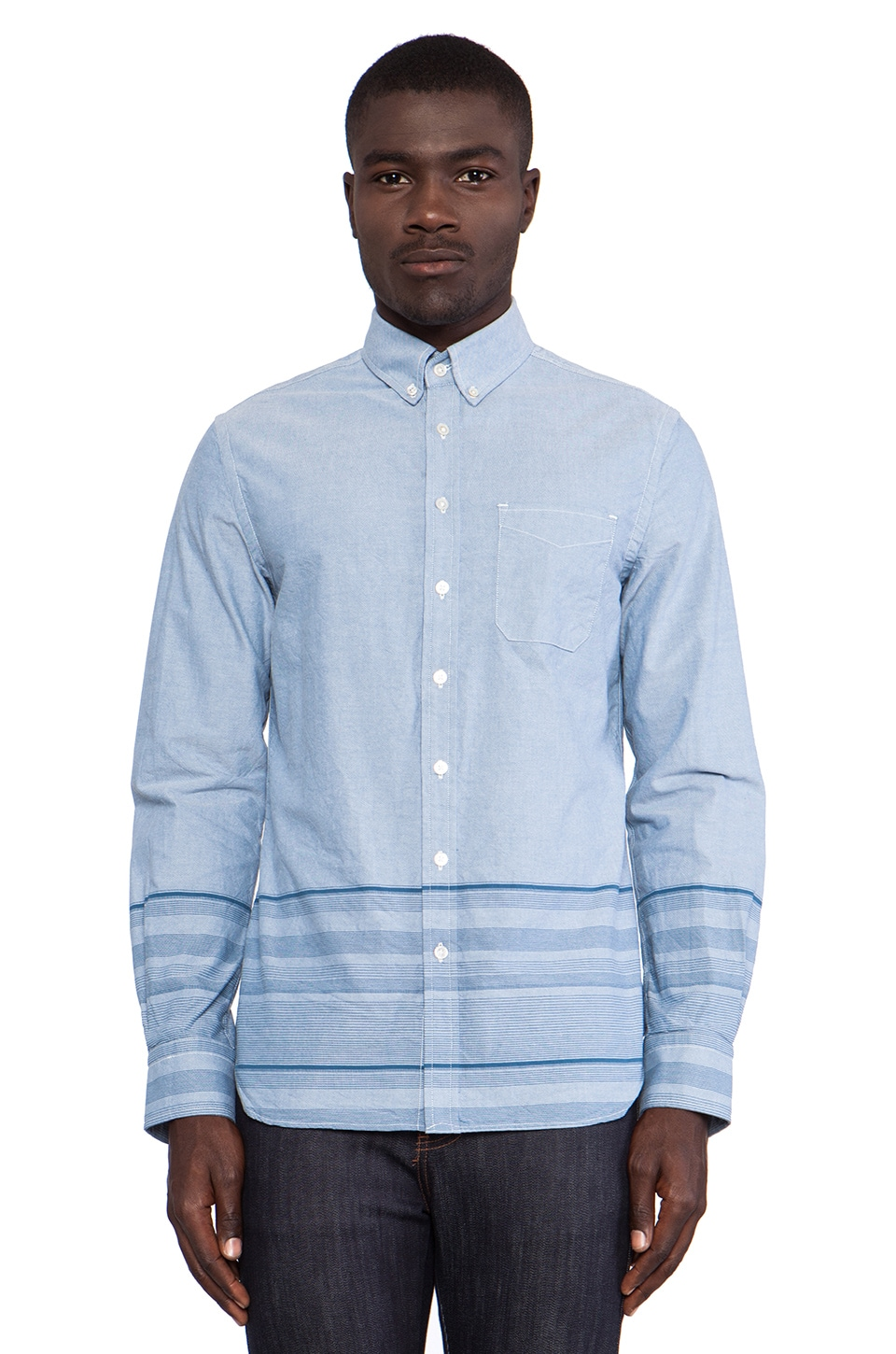 wings + horns Engineered Sakiri Button Down in Blue & White