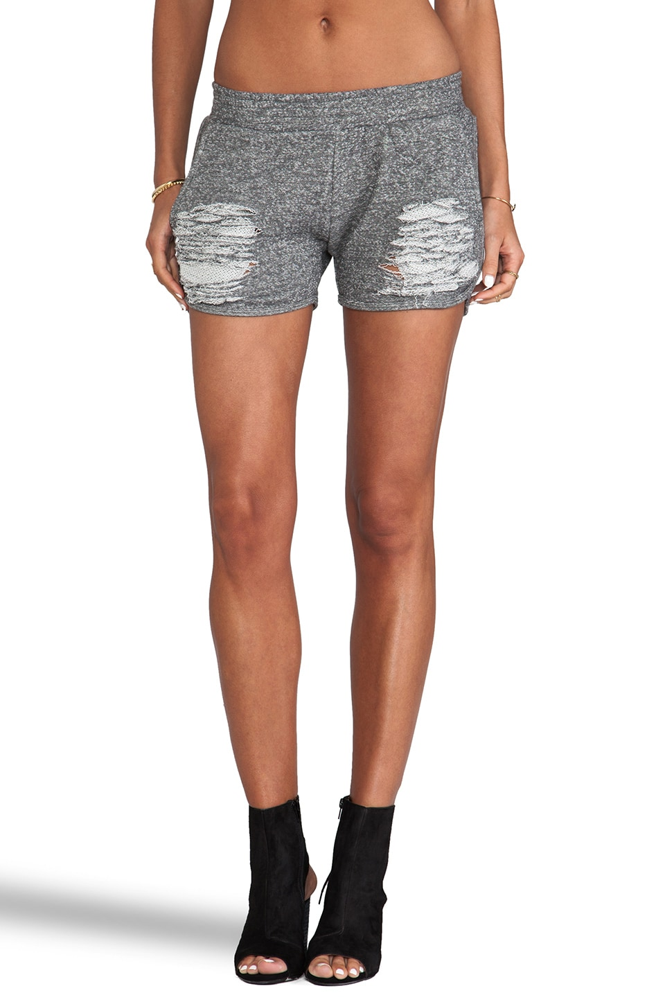 Whetherly Distressed Rita Terry Shorts in Charcoal