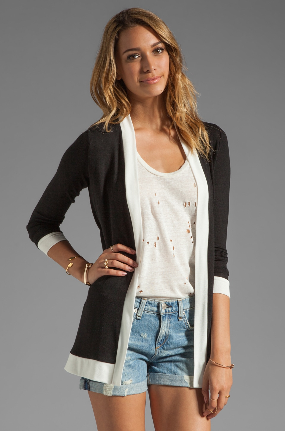 Whetherly Stella Cardigan in Black/Creme