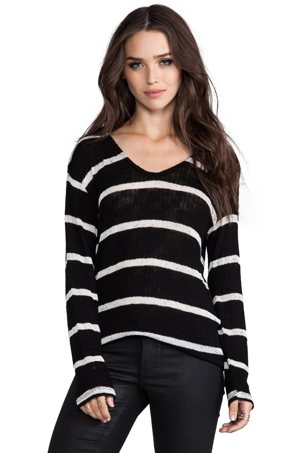 Whetherly Stripe Boucle Ezra Long Sleeve in Black & Creme