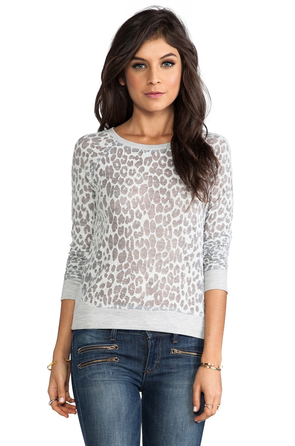 Whetherly Cheetah Burnout Liam Pullover in Heather Grey