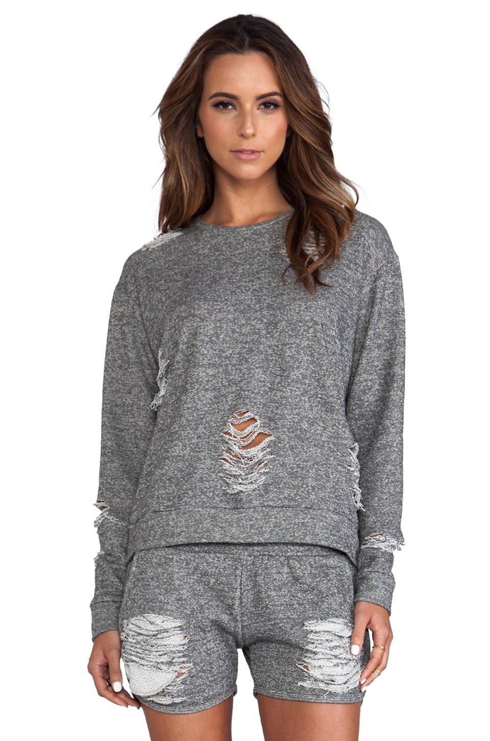 Whetherly Distressed Tucker Pullover in Charcoal