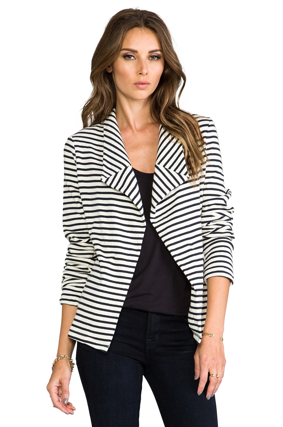 Whetherly Fuzzy Knit Bella Blazer in Navy/Creme