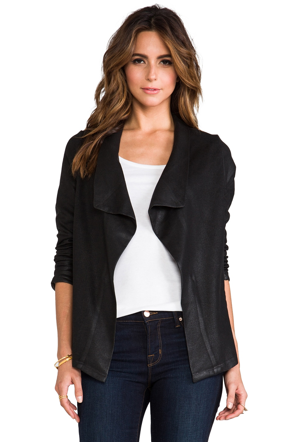 Whetherly Bella II Coated Blazer in Black