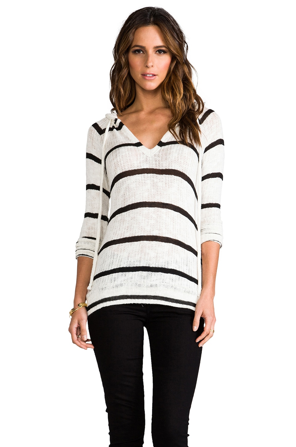 Whetherly Stripe Boucle Mandy Pullover in Creme/Black